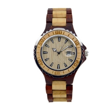 NYS-076 Red And Maple Wood Watch