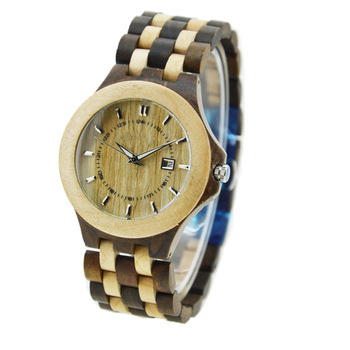 NYS-078 Black Sandal And Maple Wood Watch