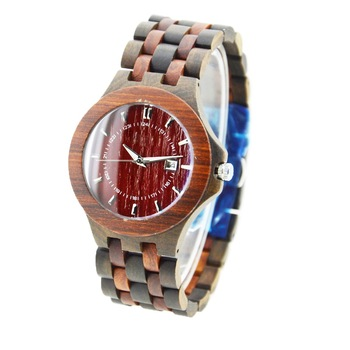 NYS-078 Black Sandal And Red Sandal Wood Watch